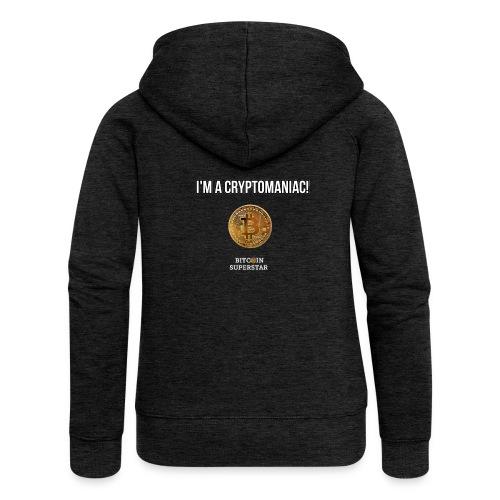 I'm a cryptomaniac - Felpa con zip premium da donna