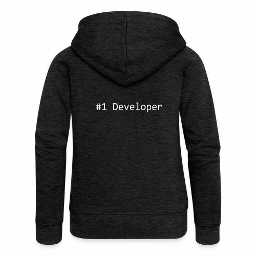 #1 Developer - White - Women's Premium Hooded Jacket