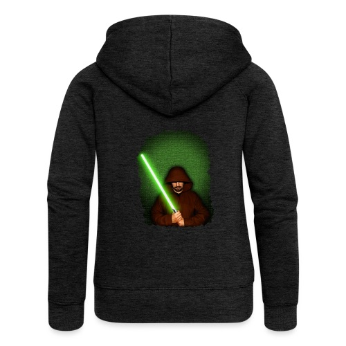 Jedi warrior with green lightsaber - Felpa con zip premium da donna