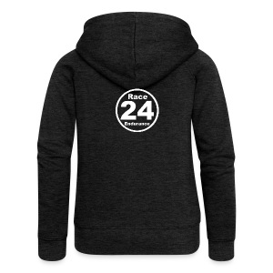 Race24 round logo white - Women's Premium Hooded Jacket