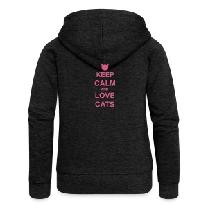 Keep Calm and Love Cats - Pink - Women's Premium Hooded Jacket