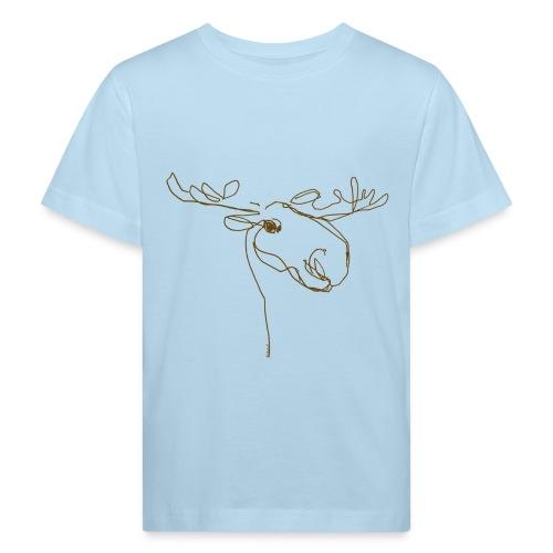 Elch braun in Linien - Kinder Bio-T-Shirt