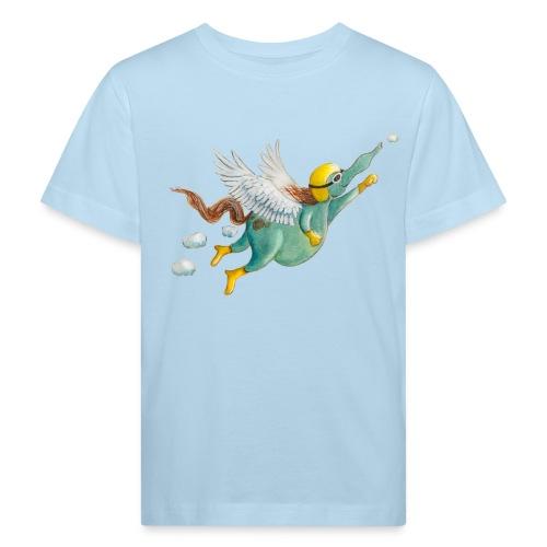 Windpferd mit weißem Logo - KlingBim - Kinder Bio-T-Shirt