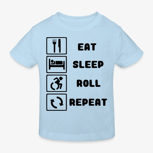 >Eten, slapen, rollen met rolstoel en herhalen 001 - Kinderen Bio-T-shirt