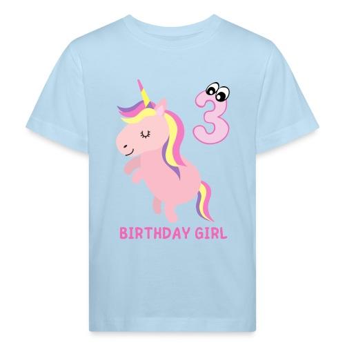 BIRTHDAY GIRL 3 YEARS OLD - Økologisk T-skjorte for barn