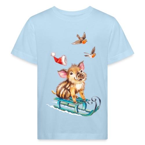 biggetje op slee - Kids' Organic T-Shirt