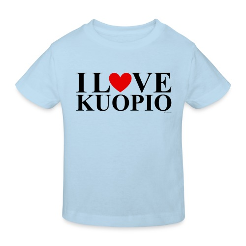 I LOVE KUOPIO (koko teksti, musta) - Lasten luonnonmukainen t-paita