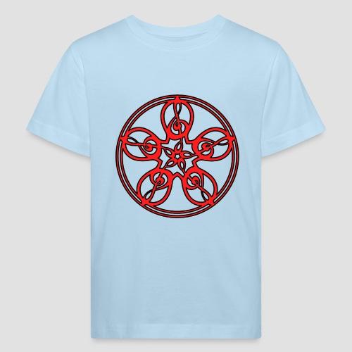 Treble Clef Mandala (red/black outline) - Kids' Organic T-Shirt