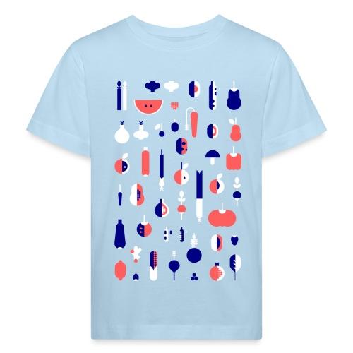 Gemüse Blau Hochformat - Kinder Bio-T-Shirt