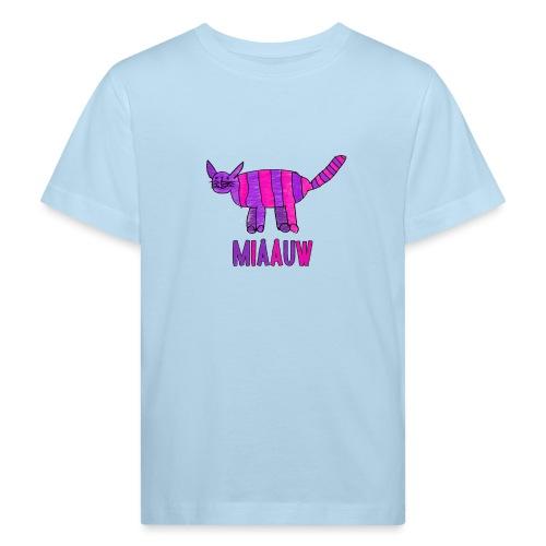 miaauw, paarse poes - Kinderen Bio-T-shirt