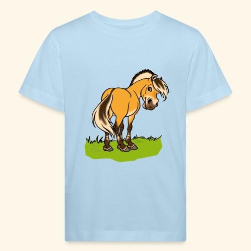 Freundliches Fjordpferd (Ohne Text) Weisse Umrisse - T-shirt bio Enfant