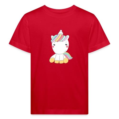 Niedliches Zauber Kawaii Einhorn in Pastelfarben - Kinder Bio-T-Shirt