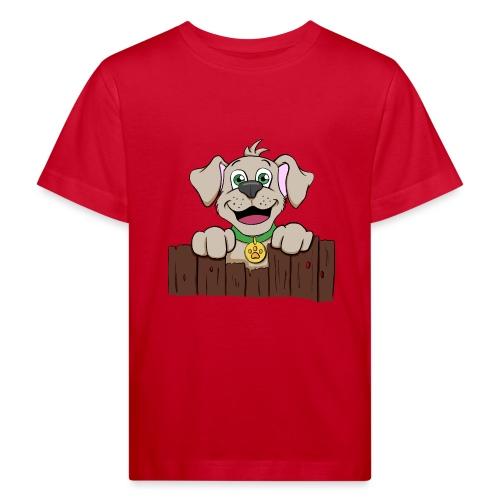 Kleiner Hund schaut über Zaun - Kinder Bio-T-Shirt