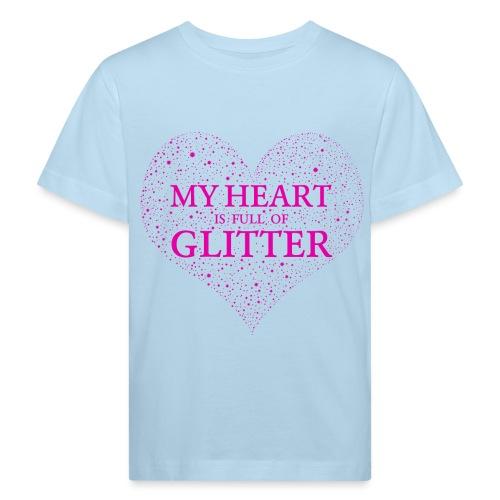 Herz Glitzer - Kinder Bio-T-Shirt