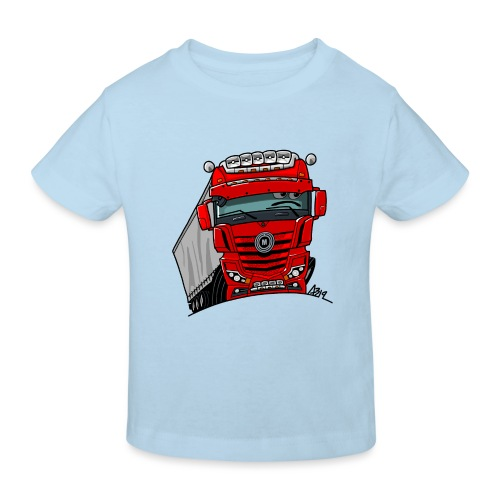 0807 M truck rood trailer - Kinderen Bio-T-shirt
