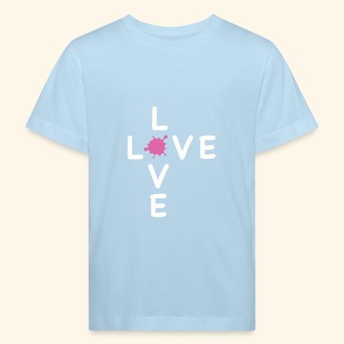 LOVE Cross white klecks pink 001 - Kinder Bio-T-Shirt