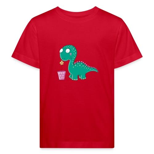 Kleiner Dinosaurier mit Blumentopf - Kinder Bio-T-Shirt
