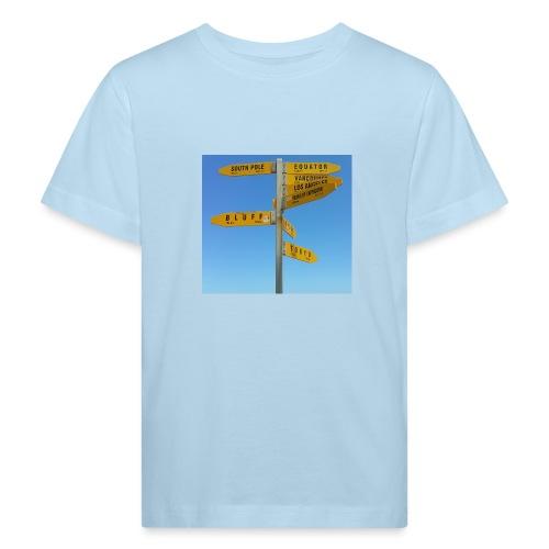 Wegweiser Cape Reinga Neuseeland Südpol Äquator - Kinder Bio-T-Shirt