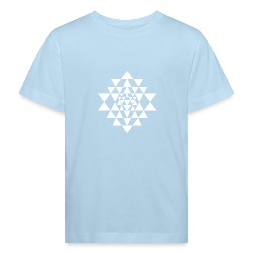 Valkoinen Shri Yantra -kuvio - Lasten luonnonmukainen t-paita