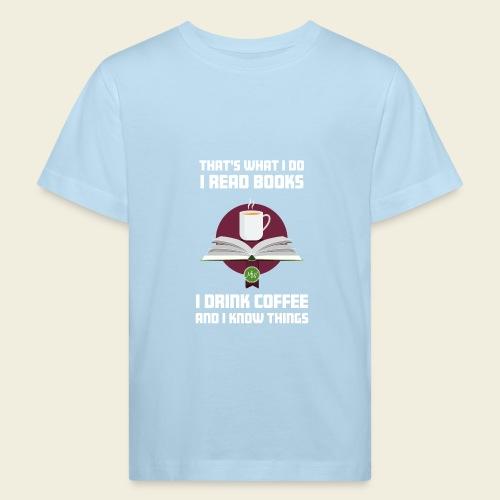 Buch und Kaffee, hell - Kinder Bio-T-Shirt