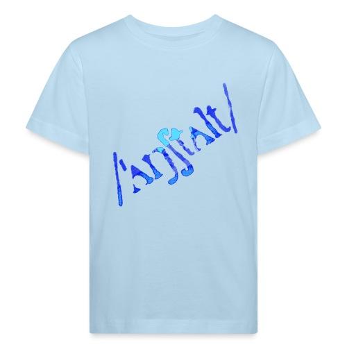 /'angstalt/ logo gerastert (blau/transparent) - Kinder Bio-T-Shirt