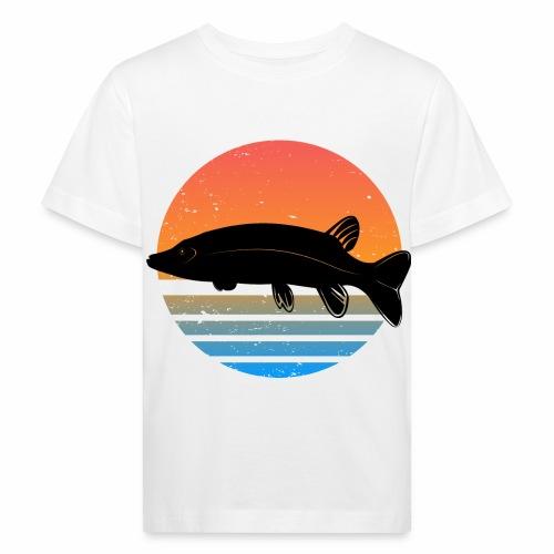 Retro Hecht Angeln Fisch Wurm Angler Raubfisch - Kinder Bio-T-Shirt