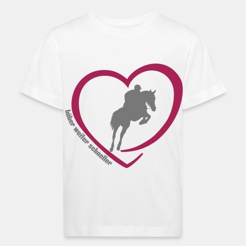 Springreiten höher weiter schneller - Kinder Bio-T-Shirt
