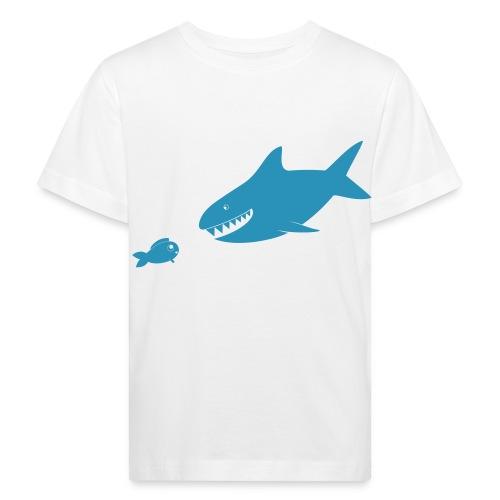 Kleiner Fisch + Hai / dunkler Hintergrund - Kinder Bio-T-Shirt