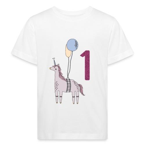 1 Jahr Einhorn / Geschenkidee zum 1. Geburtstag - Kinder Bio-T-Shirt