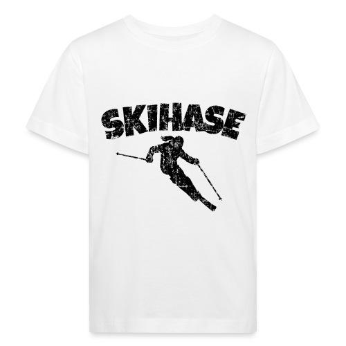 Skihase (Vintage/Schwarz) Ski Skifahrerin - Kinder Bio-T-Shirt