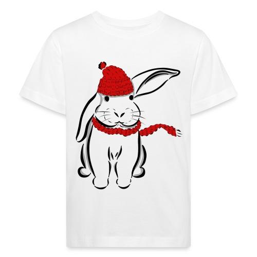Kaninchen Hase Mütze Schal Schlappohr Schneehase - Kinder Bio-T-Shirt