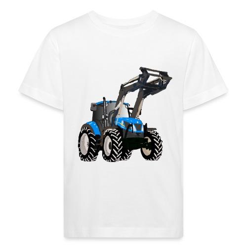 Blauer Traktor mit Frontlader - Kinder Bio-T-Shirt