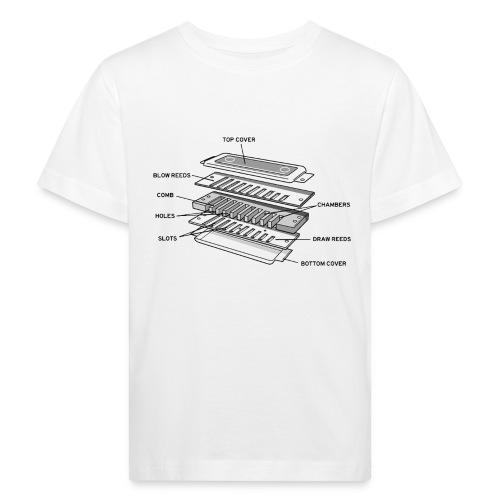Exploded harmonica - black text - Kids' Organic T-Shirt