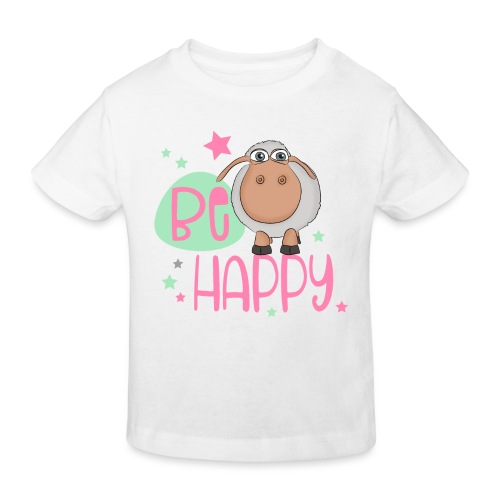 Be happy Schaf - Glückliches Schaf - Glücksschaf - Kinder Bio-T-Shirt