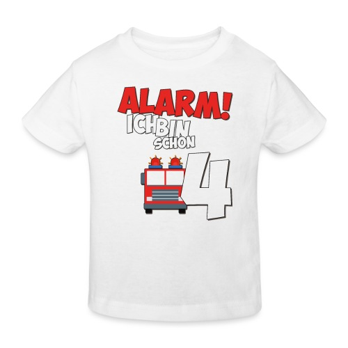 Feuerwehrauto 4. Geburtstag Jungen 4 Jahre - Kinder Bio-T-Shirt