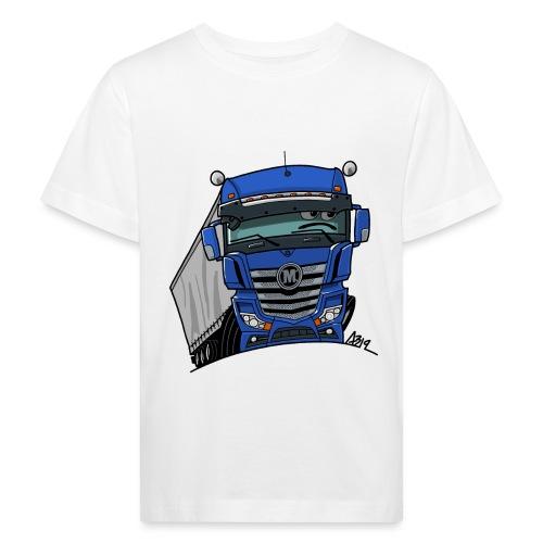 0807 M truck blauw trailer - Kinderen Bio-T-shirt