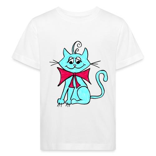 Katze blau - Kinder Bio-T-Shirt