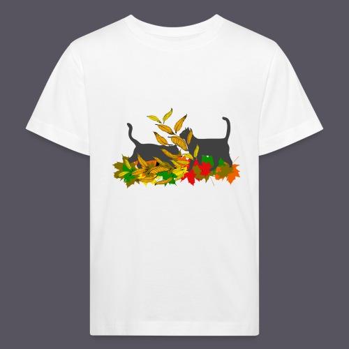 spielende Katzen in bunten Blättern - Kinder Bio-T-Shirt