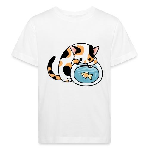 Katze mit Fisch im Glas - Kinder Bio-T-Shirt