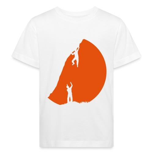 Boulderer mit Spotter im Sonnenuntergang - Kinder Bio-T-Shirt