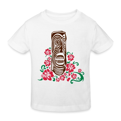 Tiki Totem with Hibiscus Flowers - Kids' Organic T-Shirt