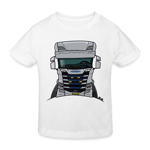 0814 S truck grill wit - Kinderen Bio-T-shirt