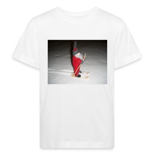 Joulutonttu hiihtämässä - Lasten luonnonmukainen t-paita