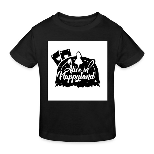 Alice in Nappyland TypographyWhite with background - Kids' Organic T-Shirt