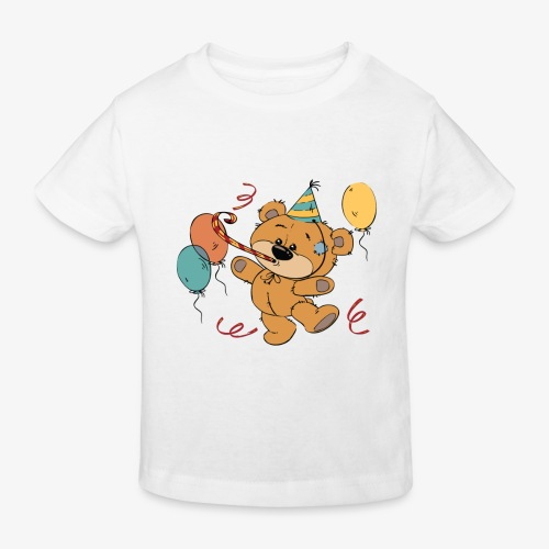 Little teddy bear at the party - Kids' Organic T-Shirt