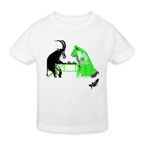Playing Senet by BlackenedMoonArts, green w. logo - Organic børne shirt