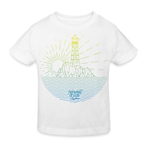 Leuchtturm mit Sonne am Meer - Kinder Bio-T-Shirt