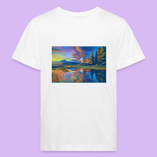 Paesaggio al tramonto con laghetto stilizzato - Maglietta ecologica per bambini