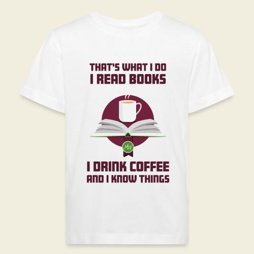 Buch und Kaffee, dunkel - Kinder Bio-T-Shirt