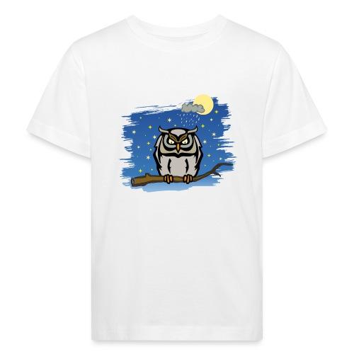 Eule Uhu Nachtschwärmer Vollmond Regenwolke Sterne - Kinder Bio-T-Shirt